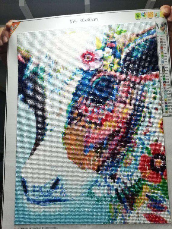 f2798c1b68 DIY Colorful Cow Diamond Painting, Square Full Drill Diamond Painting Kit  for Adults,5D Diamond Pain