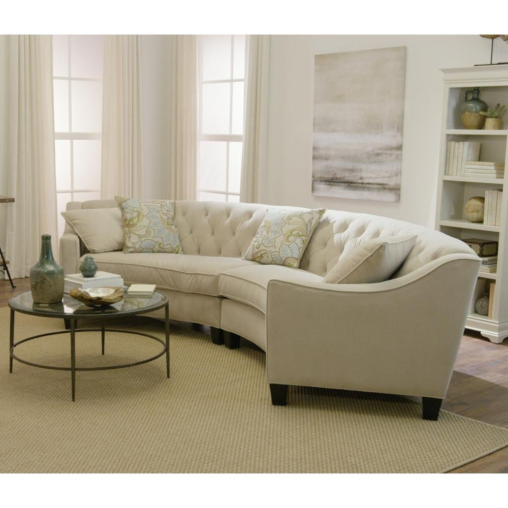 Home Decorators Collection Riemann 2 Piece Pearl Microsuede Sectional 1315100810 The Home Depot Curved Sofa Living Room Curved Sectional Luxury Living Room