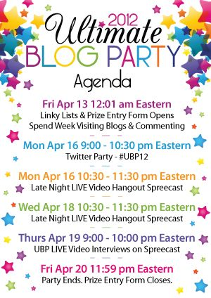 The Ultimate Blog Party 2012 #UBP12 Blogging and Blog - agenda sample format