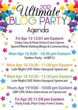 The Ultimate Blog Party 2012 #UBP12 Blogging and Blog - agenda sample format