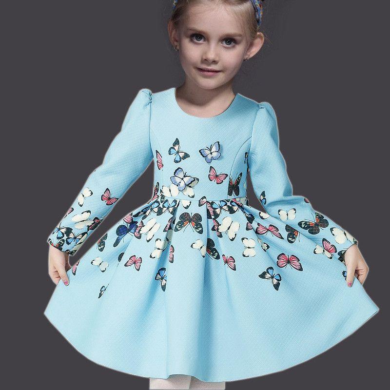 6aa5f4e2b94ad18 Детские платья принцессы зима с длинным рукавом бабочка девушка ну  вечеринку платье одежды детей платья девушки одежда для детей купить на  AliExpress