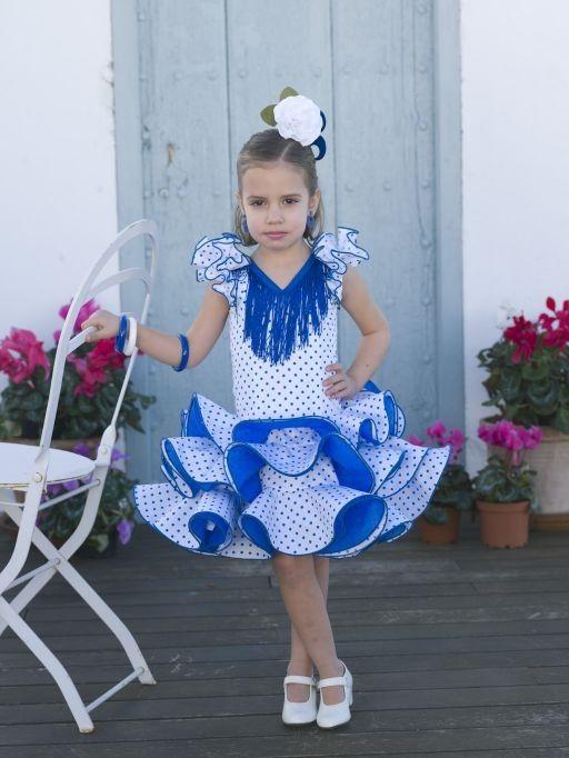 76805b9dd Traje gitana niña azul | niña flamenca | Traje flamenca niña ...