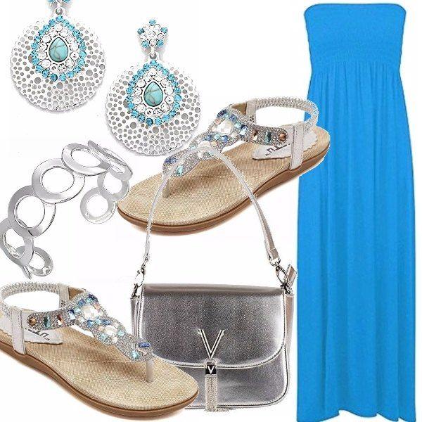 Abito davvero estivo in un bell'azzurro acceso, accessori importanti vista la semplicità dell'abito. Sandalo gioiello, orecchini con pendente a goccia, bracciale che riprende le forme e la borsa silver un tocco davvero importante. Che ne dite?