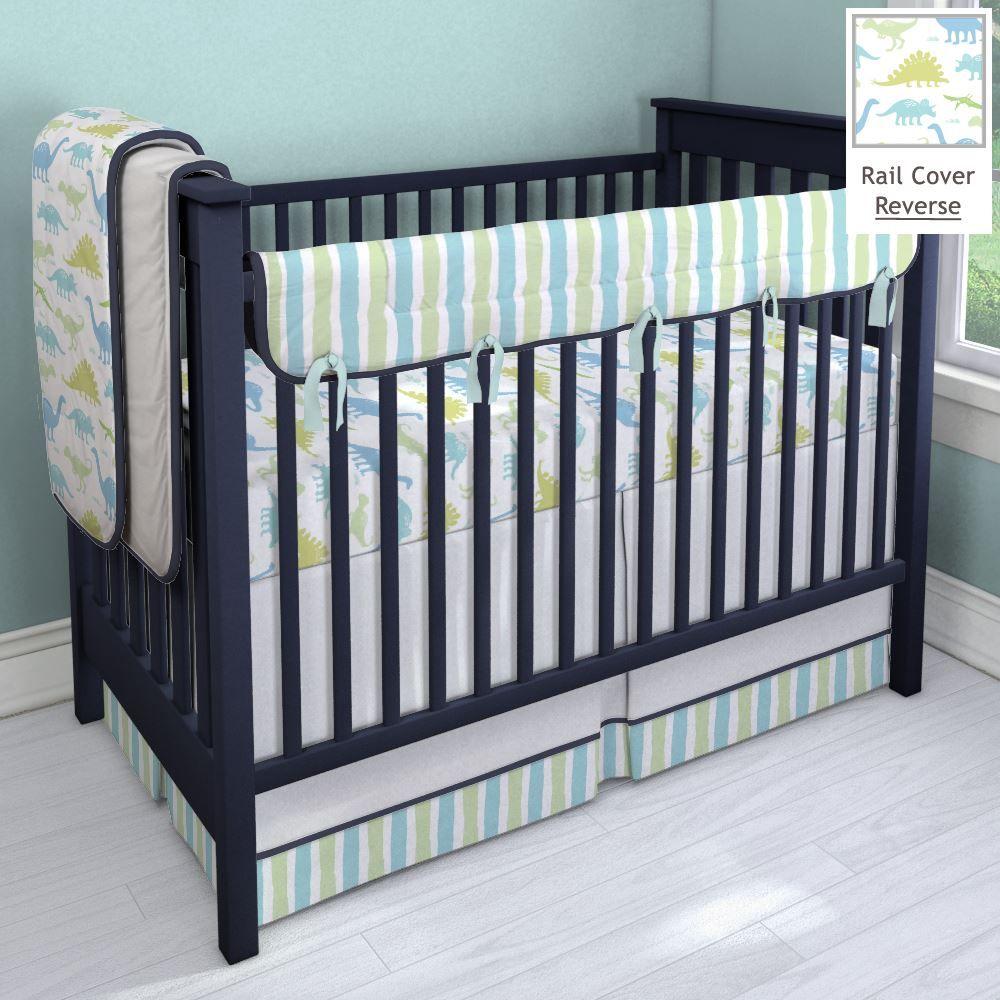 Dinosaurs and Stripes Nursery Idea Customizable Crib