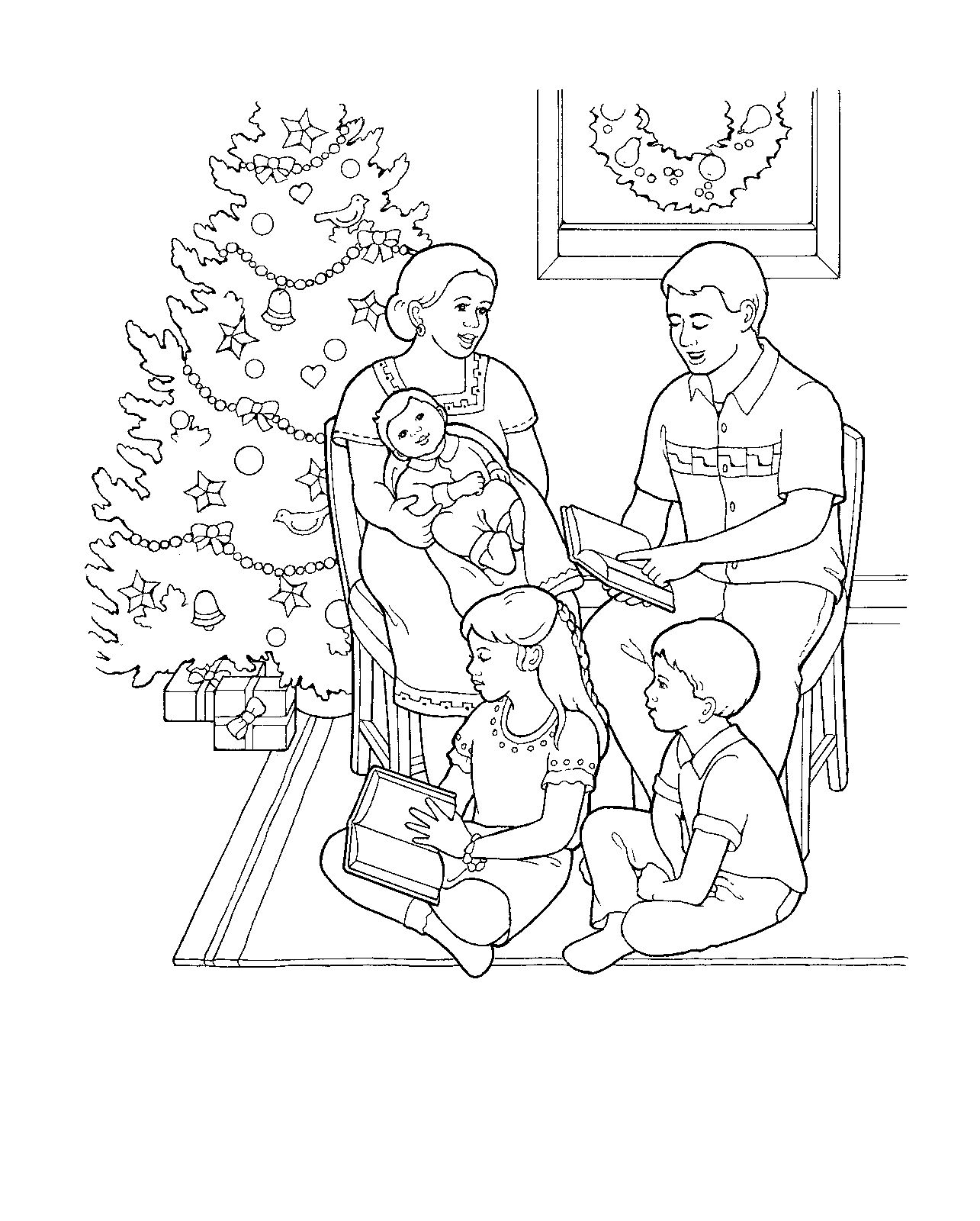 A Family At Christmas Coloring Page For Primary Kids From