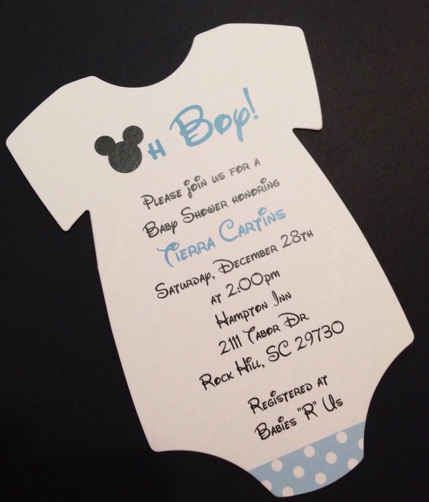 Blue mickey mouse onesie baby shower invitation all wording blue mickey mouse onesie baby shower invitation all wording customized for you filmwisefo Images