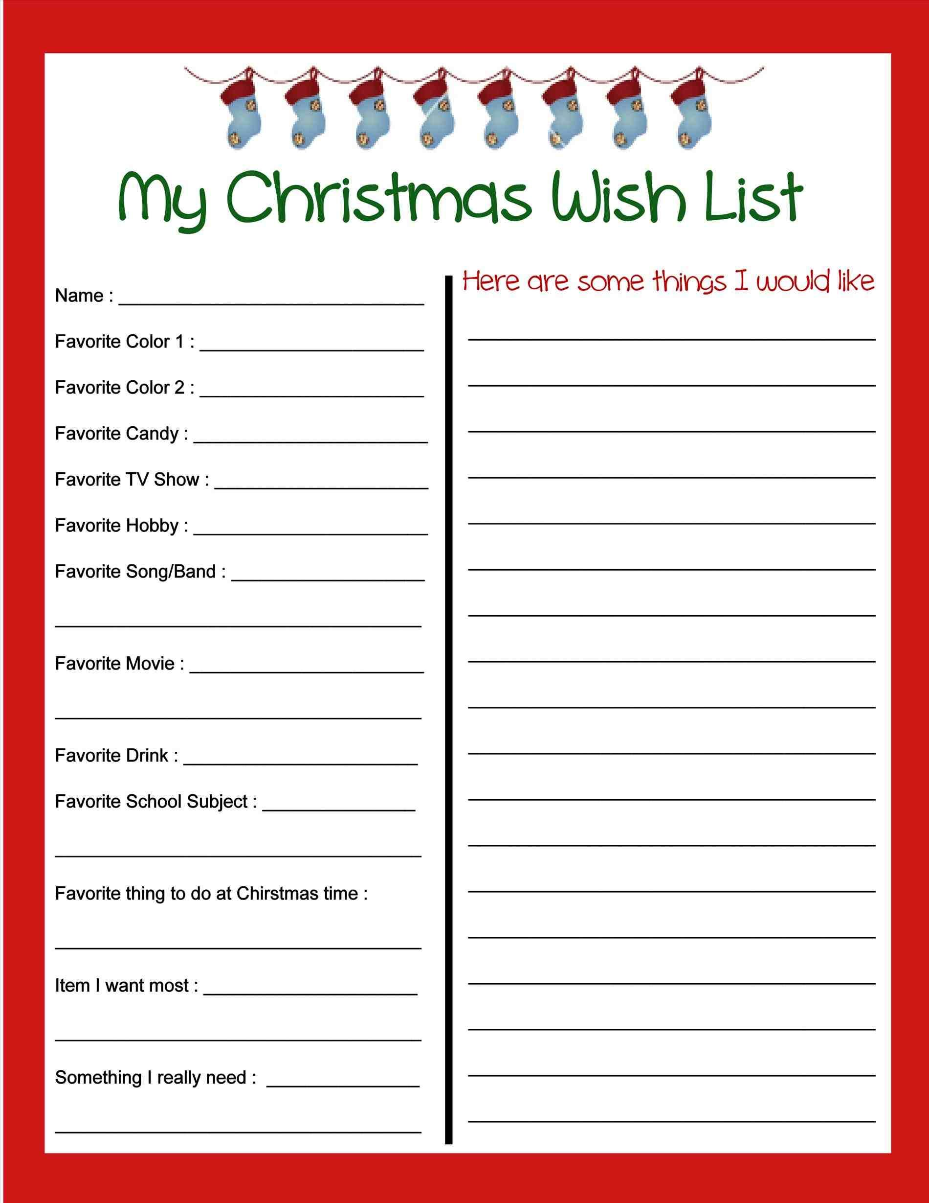 New Post My Christmas Wish List Template  Decors Ideas