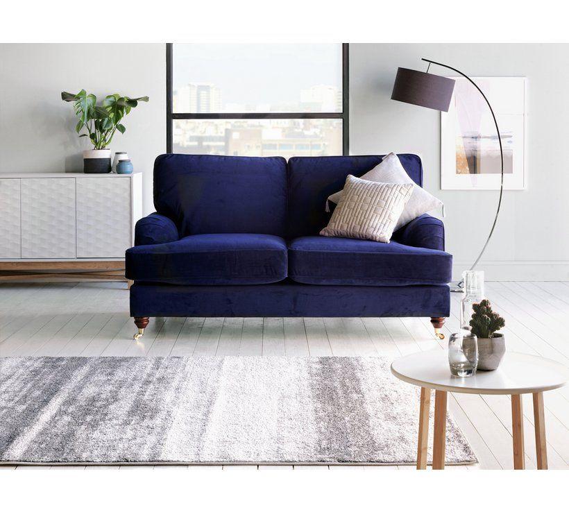 Pleasing Home Abberton 2 Seater Velvet Sofa Navy The Living Room Bralicious Painted Fabric Chair Ideas Braliciousco
