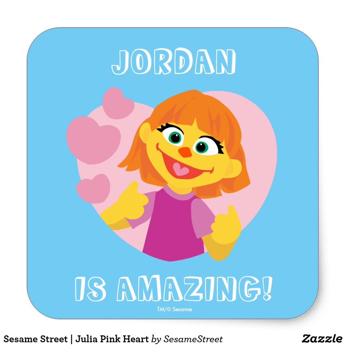 Sesame Street Julia Pink Heart Square Sticker Zazzle Com Mom And Kids Stuffs And Activities Pink Heart Stickers