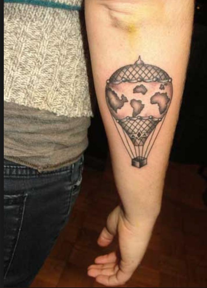 below elbow Balloon tattoo, Air balloon tattoo, Sleeve