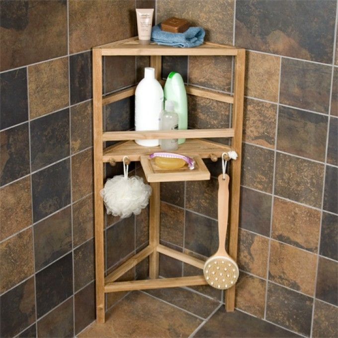 Freestanding Teak Corner Shower Shelf With Removable Soap Dish Shower Caddies Bathroom Accessories Bathroom Shower Shelves Corner Shower Shower Storage