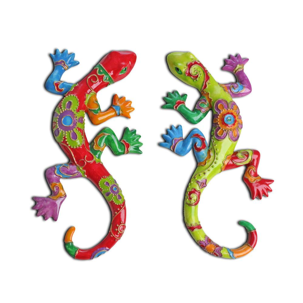 Decorative garden ornaments - Decorative Bright Coloured Gecko Lizard Wall Art Garden Ornament Home Feature