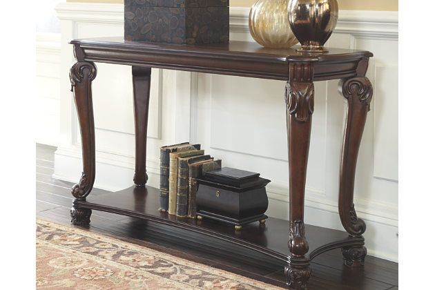 Curvaceously Beautiful The Norcastle Sofa Table Takes A Lovely Turn On Traditional Style Ornate B Console Table Decorating Sofa Table Brown Living Room Decor