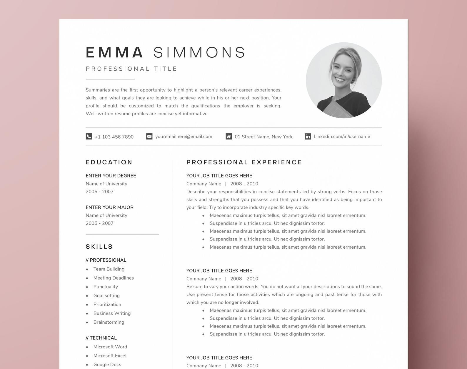 COMPACT 1 Page Resume Template with Photo Cover Letter