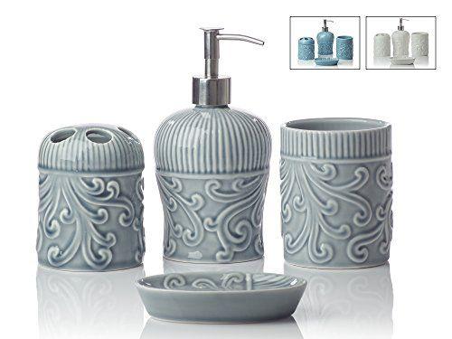 Designer 4Piece Ceramic Bath Accessory Set Includes Liquid Soap or