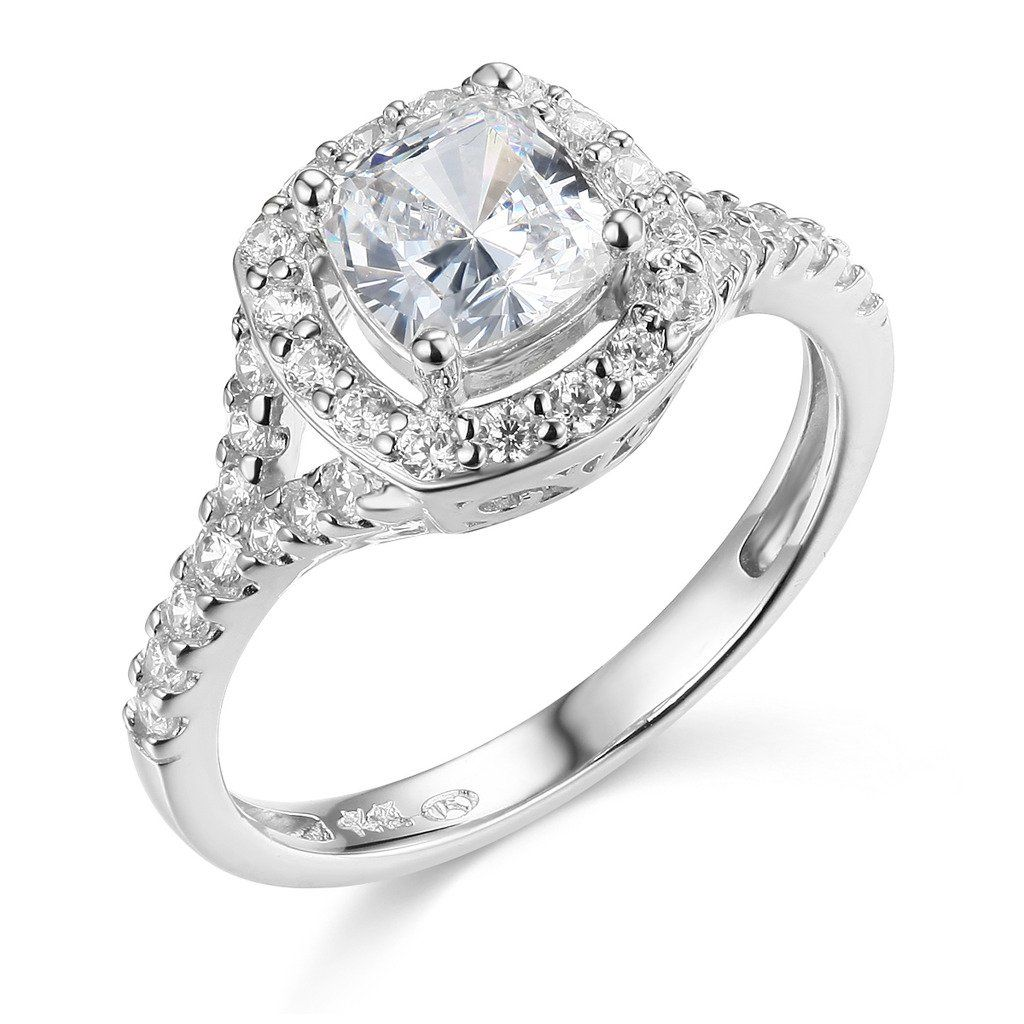 TWJC 14k White Gold SOLID Wedding Engagement Ring Size 4.5