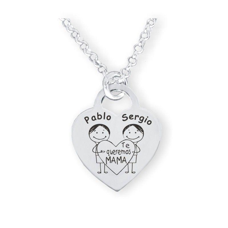 f344fd962b23 Colgante AUDREY Corazón y cadena de plata de ley
