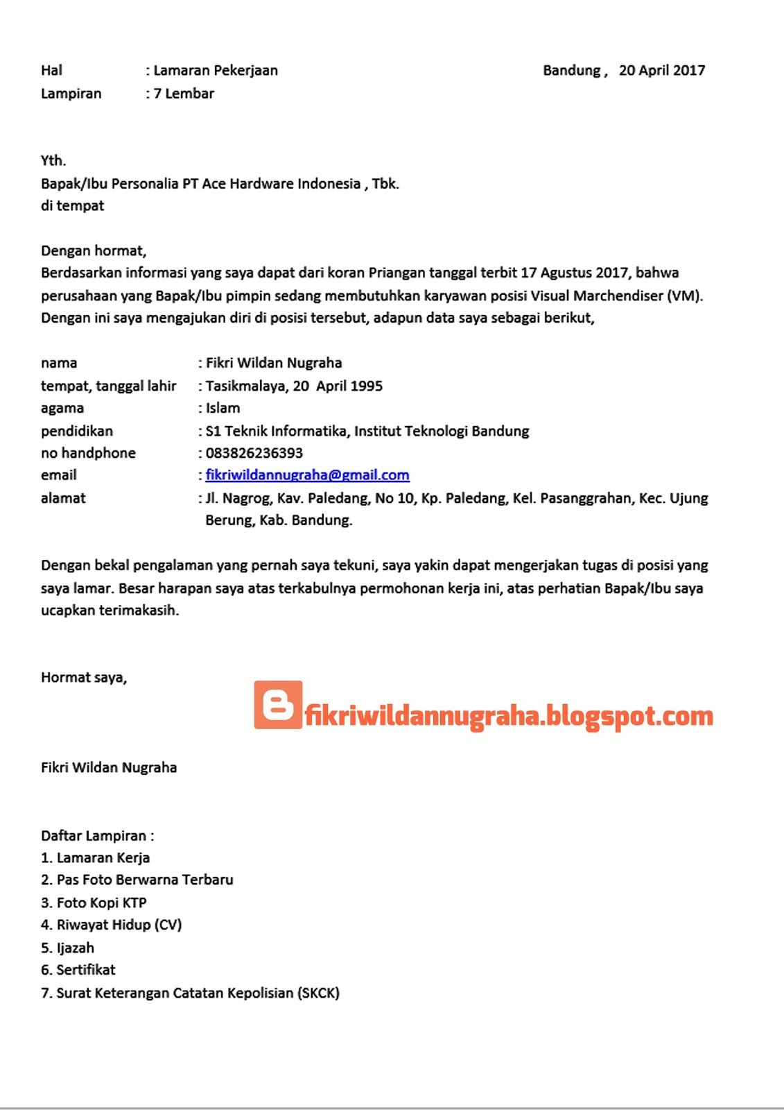 Download 25 Contoh Surat Lamaran Kerja Yang Benar