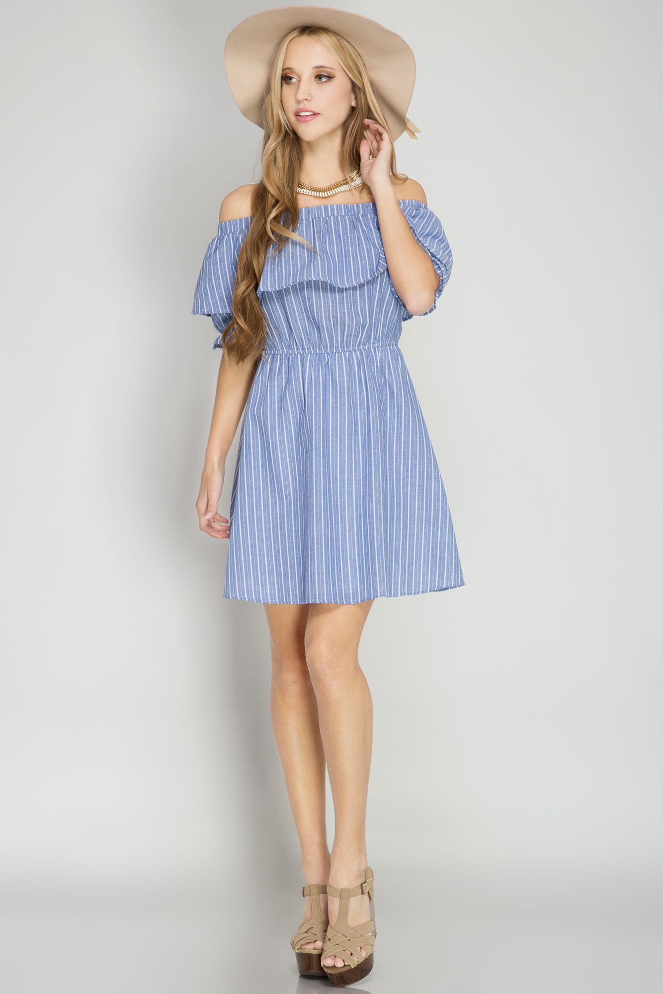 HALF PUFF SLEEVE OFF SHOULDER DRESS WITH STRIPES AND RUFFLE TOP ...