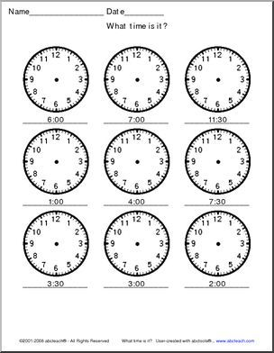 time telling time analog clocks 30 min small students should draw in the hands to. Black Bedroom Furniture Sets. Home Design Ideas