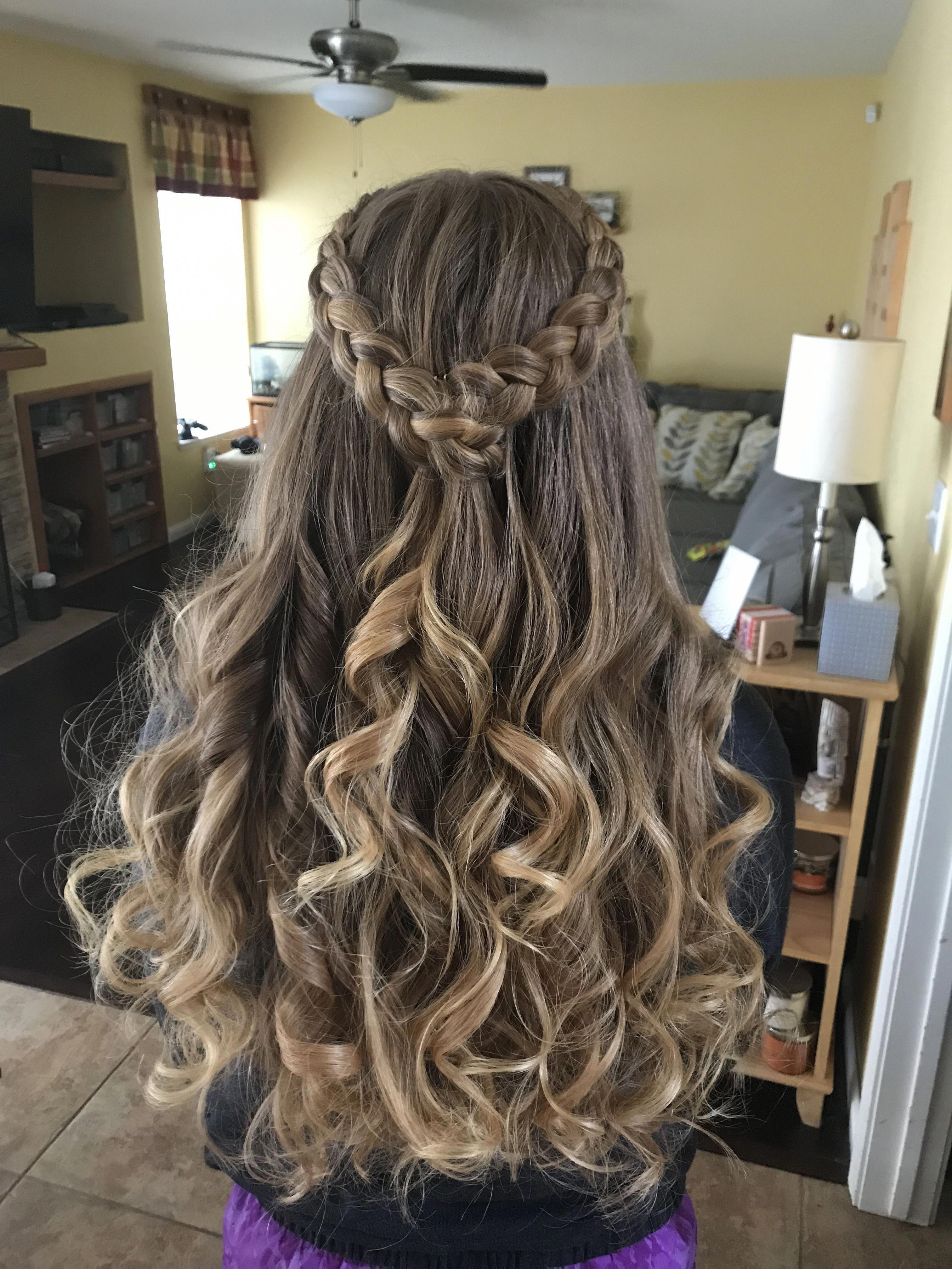 teenage hairstyles girls Thick Hair #waterfallbraid ...