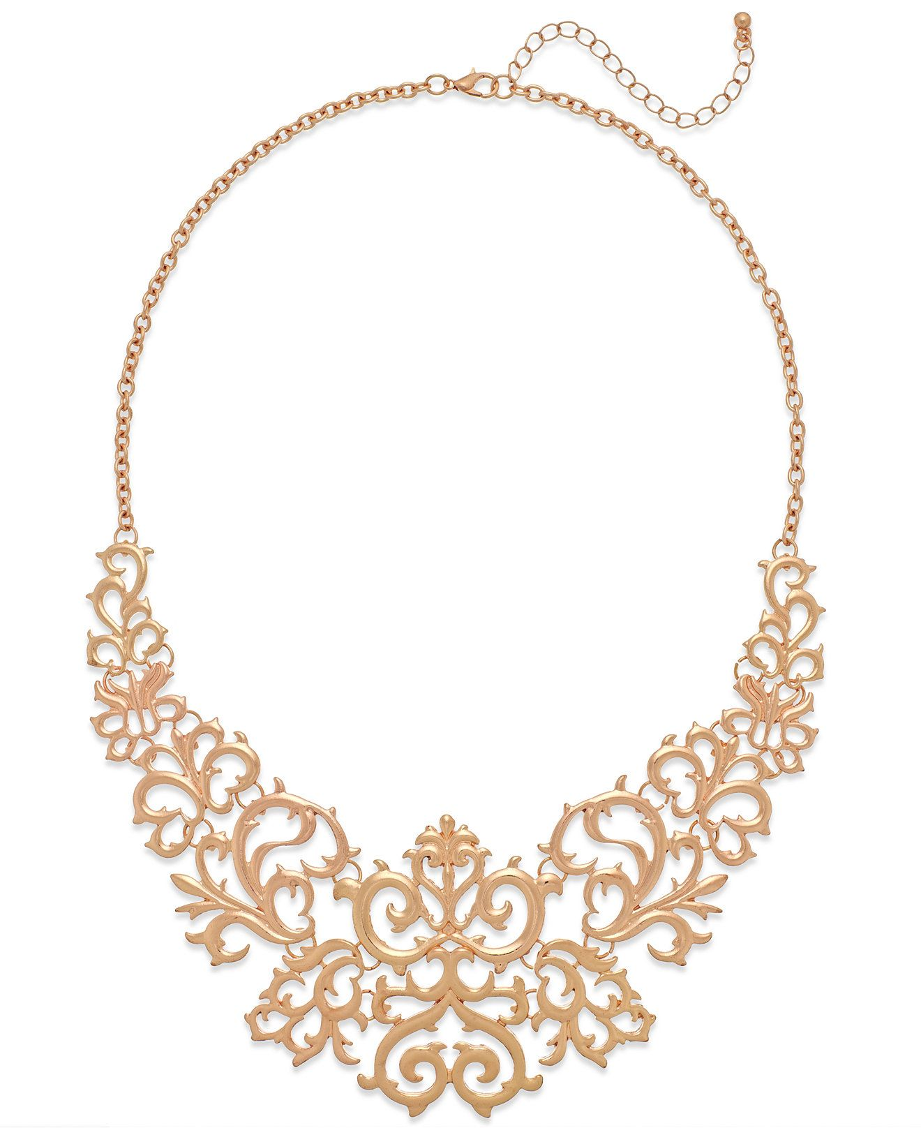 Macy's Rose Gold-Tone Lace Bib Necklace - Fashion Necklaces - Jewelry & Watches - Macy's