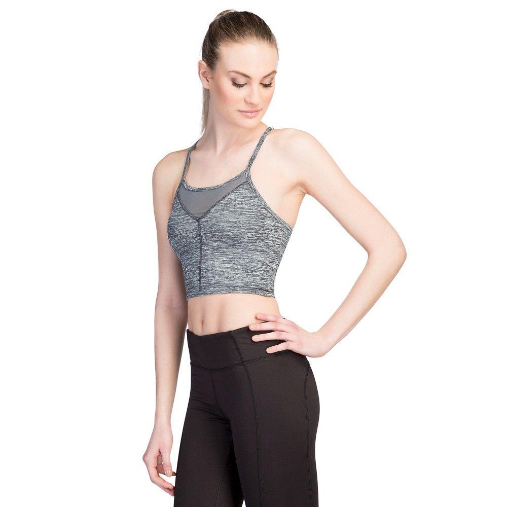 Women's Long Mesh Front Sports Bra Charcoal Melange XS