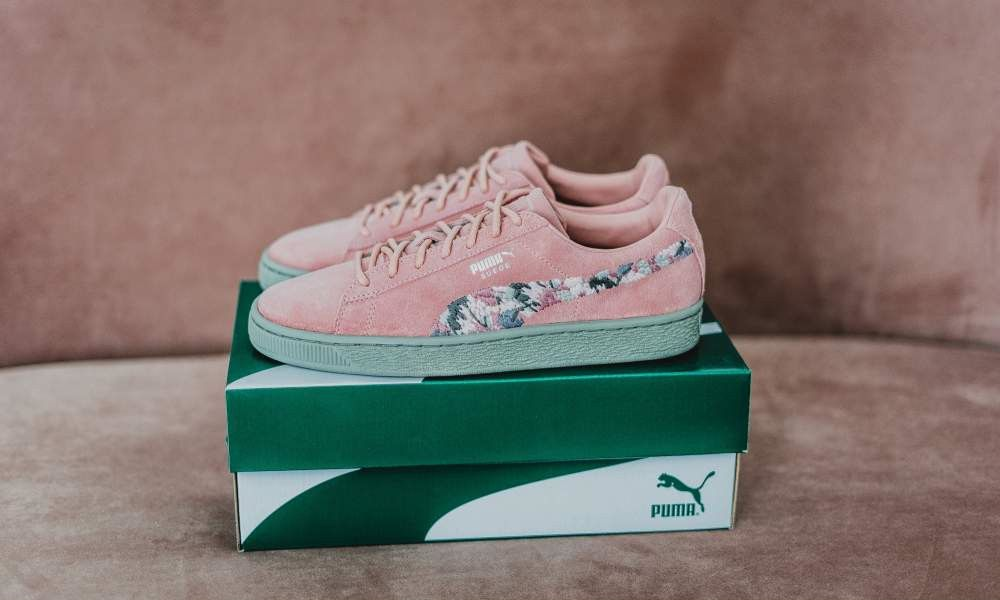 new style 85f5d 7e40d PUMA SUEDE SUNFADE STITCH PEBBLE BIRCH PINK WOMENS SNEAKER ...