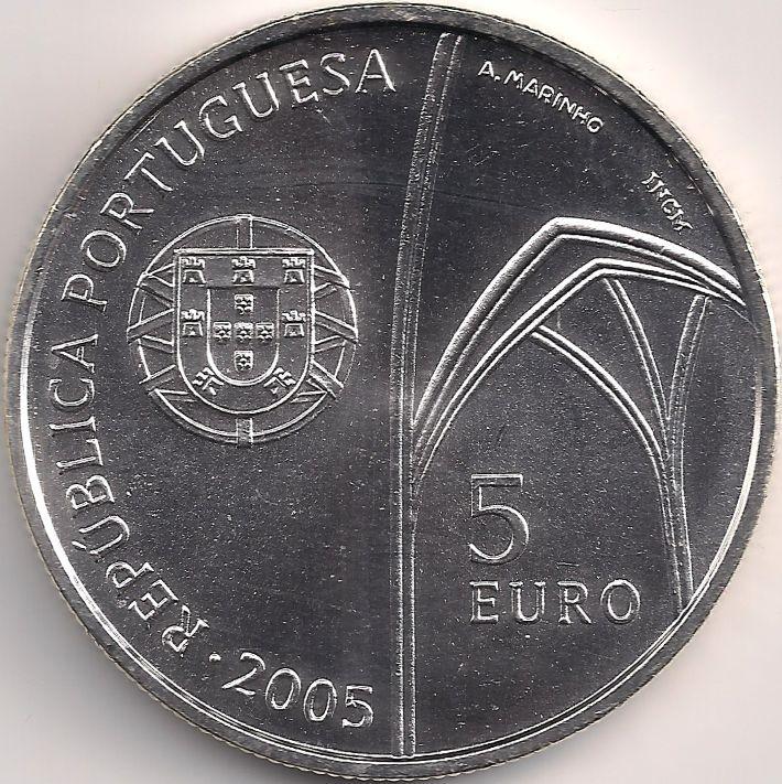 Wertseite: Münze-Europa-Südeuropa-Portugal-Euro-5.00-2005-Mosteiro da Batalha