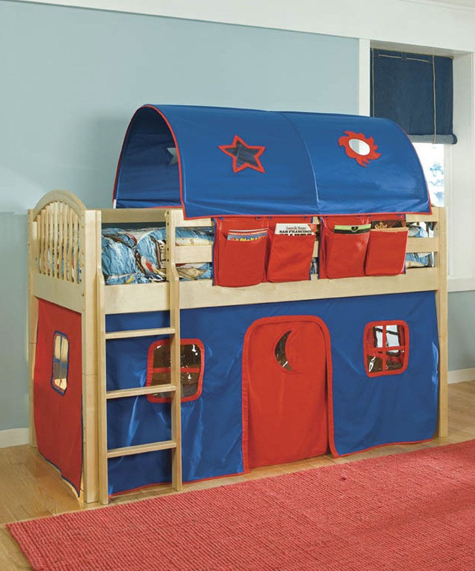 Loving this Natural & Blue Mansfield LowLoft Bed Set on