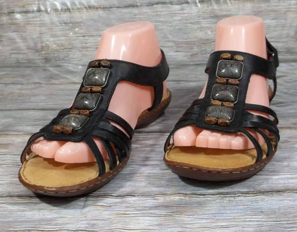 Clarks Artisan T-Strap Sandals Womens Size 7 M Black Leather Shoes
