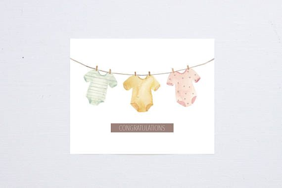 Baby Shower Card Printable ~ Handmade watercolor print baby shower greeting card