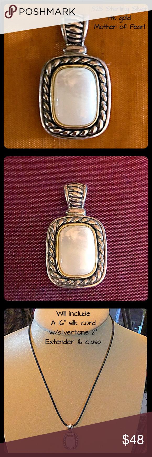 Vtg ss mother of pearl k gold pendant my posh picks
