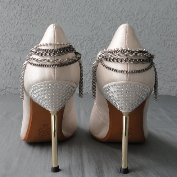 Edgy Style Multi Chain And Tassel Shoe Clips by Chuletindesigns, $30.00