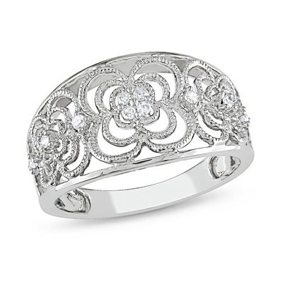 1/10 CT. T.W. Diamond Flower Band in 10K White Gold - Clearance - Zales