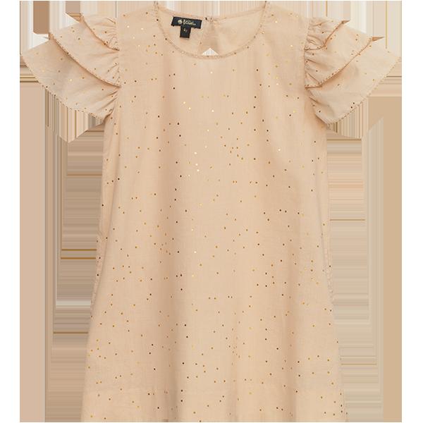 Velveteen Ruffled Sleeve Shift Dress