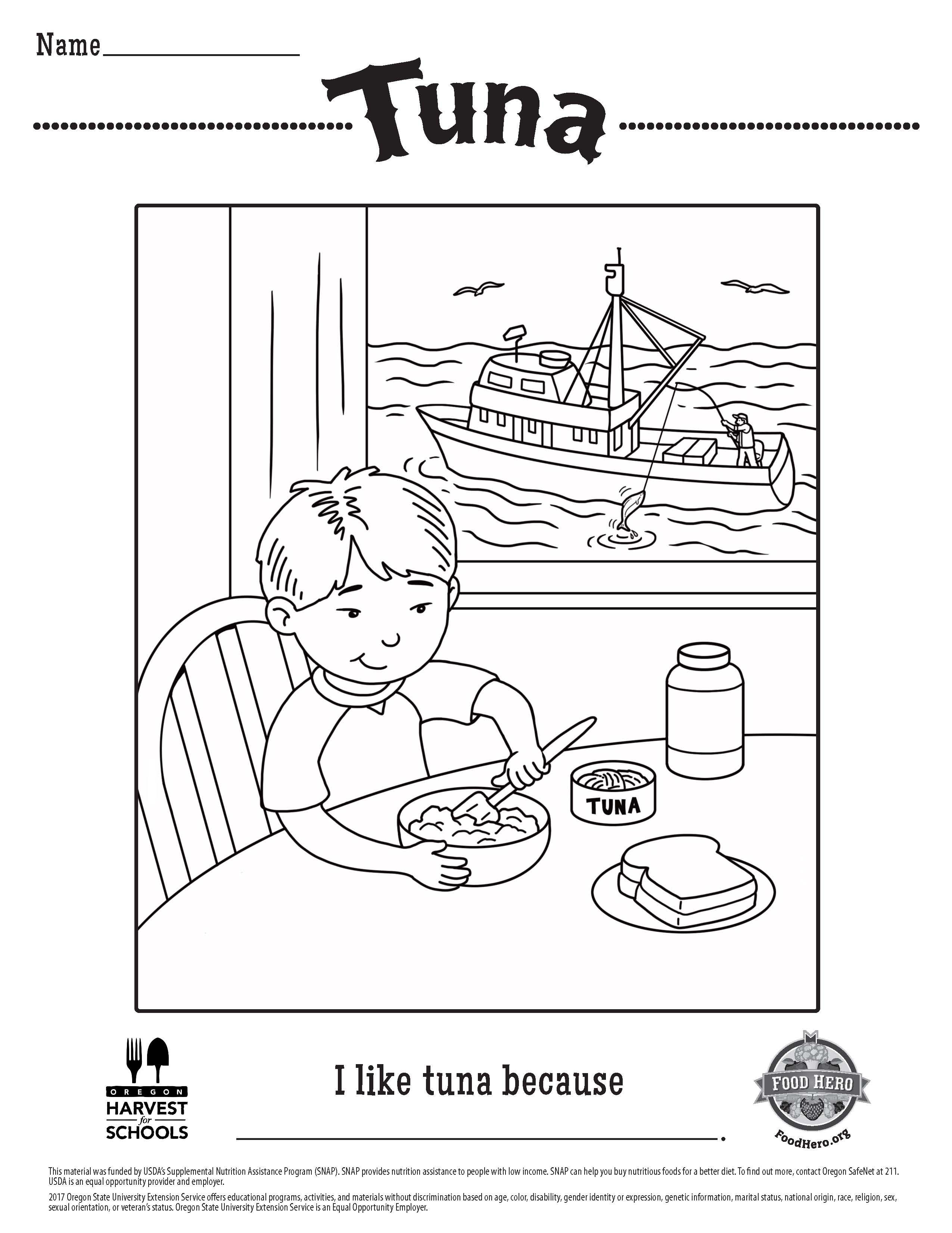 - Food Hero Free Printable Children's Coloring Sheet Tuna. Kids