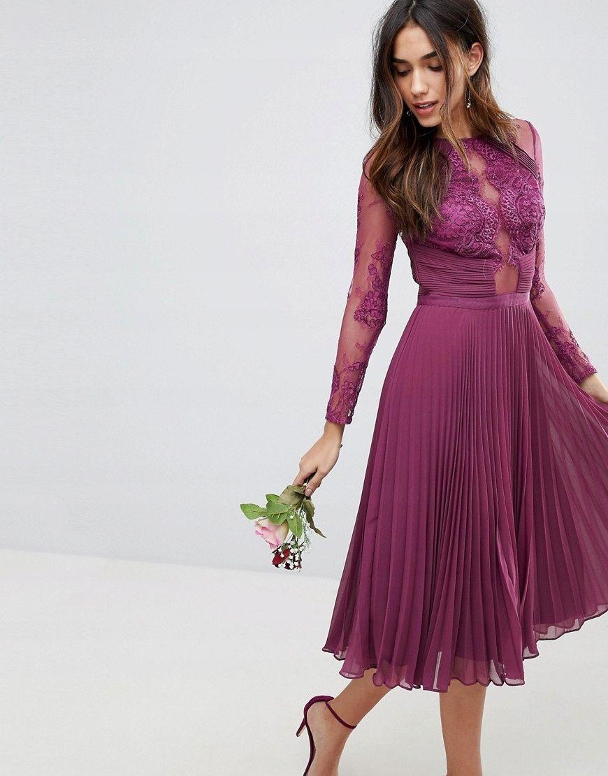 S3e212 Plisowana Sukienka Na Wesele 40 L U00 7869507350 Oficjalne Archiwum Allegro Midi Bridesmaid Dress Lace Bridesmaid Dresses Lace Sleeves