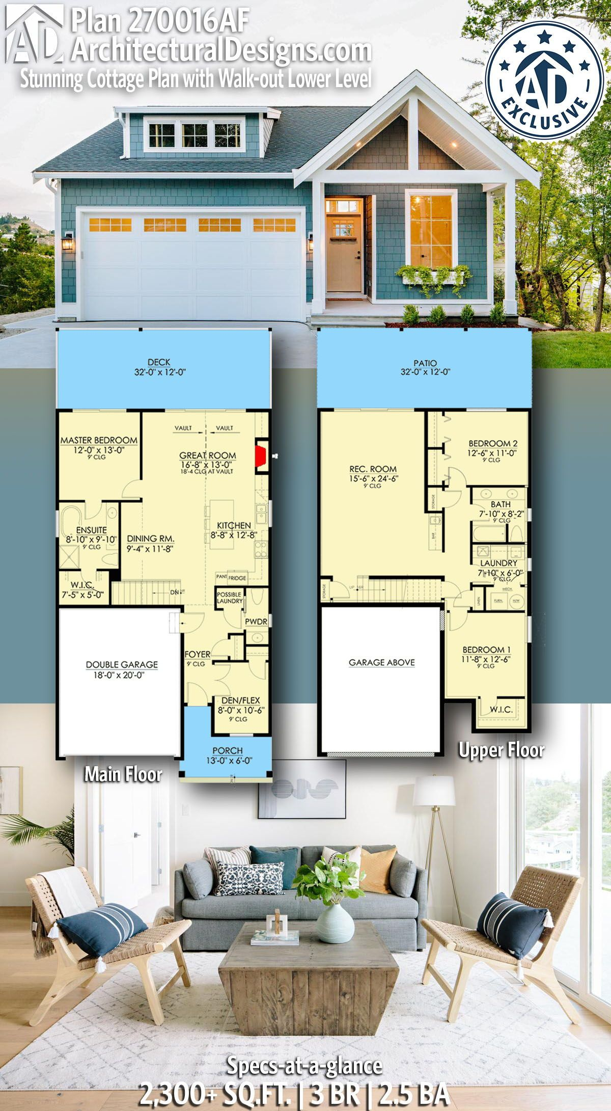 Plan 270016af Stunning Cottage Plan With Walk Out Lower Level Cottage Plan House Blueprints Small House Plans
