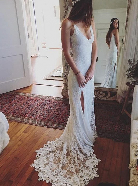 Lace wedding dressesboho wedding dressspaghetti straps wedding