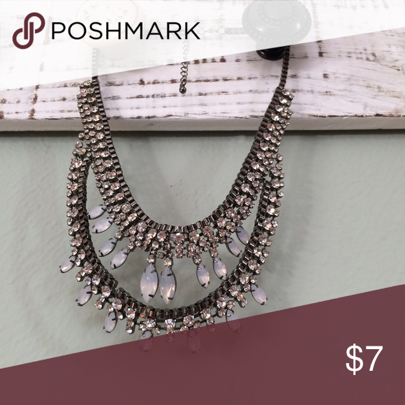 Glam statement necklace Super cute rhinestone statement necklace. Looks awesome with a going out outfit or to add a pop to your daytime wear. A couple rhinestones are missing, but it's hardly noticeable. Jewelry Necklaces