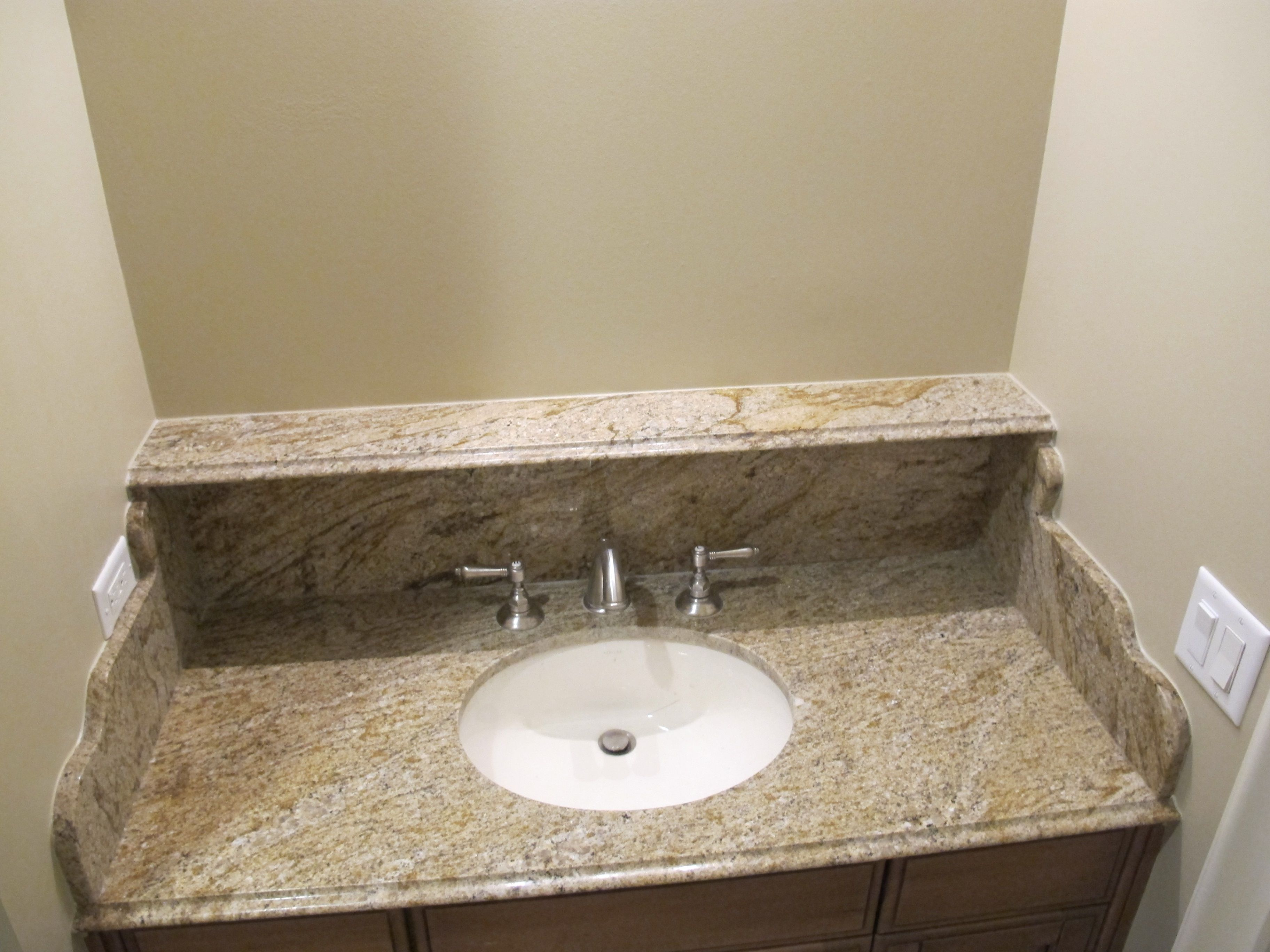in pe vanity granite with top and w faucets napoli bowl white pegasus
