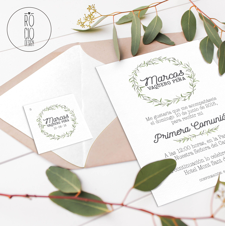 Invitacion Comunion Rocio Design Coleccion Ramas Olivo Comunion Holly Weddingplanner Weddindesign D Invitaciones Comunion Invitaciones Bodas Romanticas