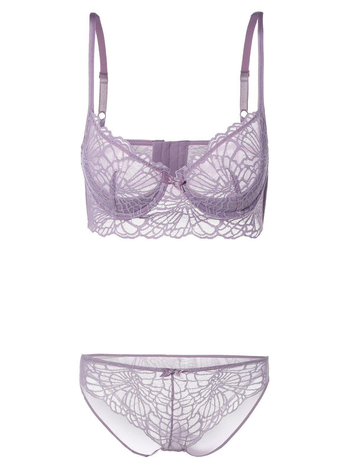 Adorable wife sheer purple bra and panties