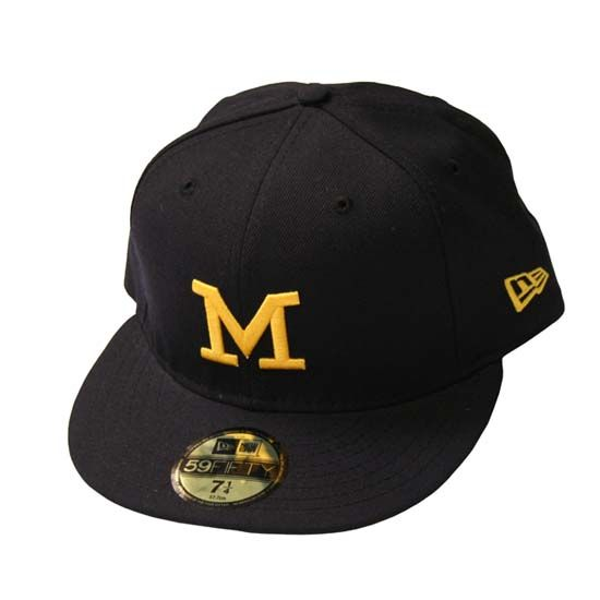 The M Den New Era University Of Michigan 59fifty Navy Fitted Hat