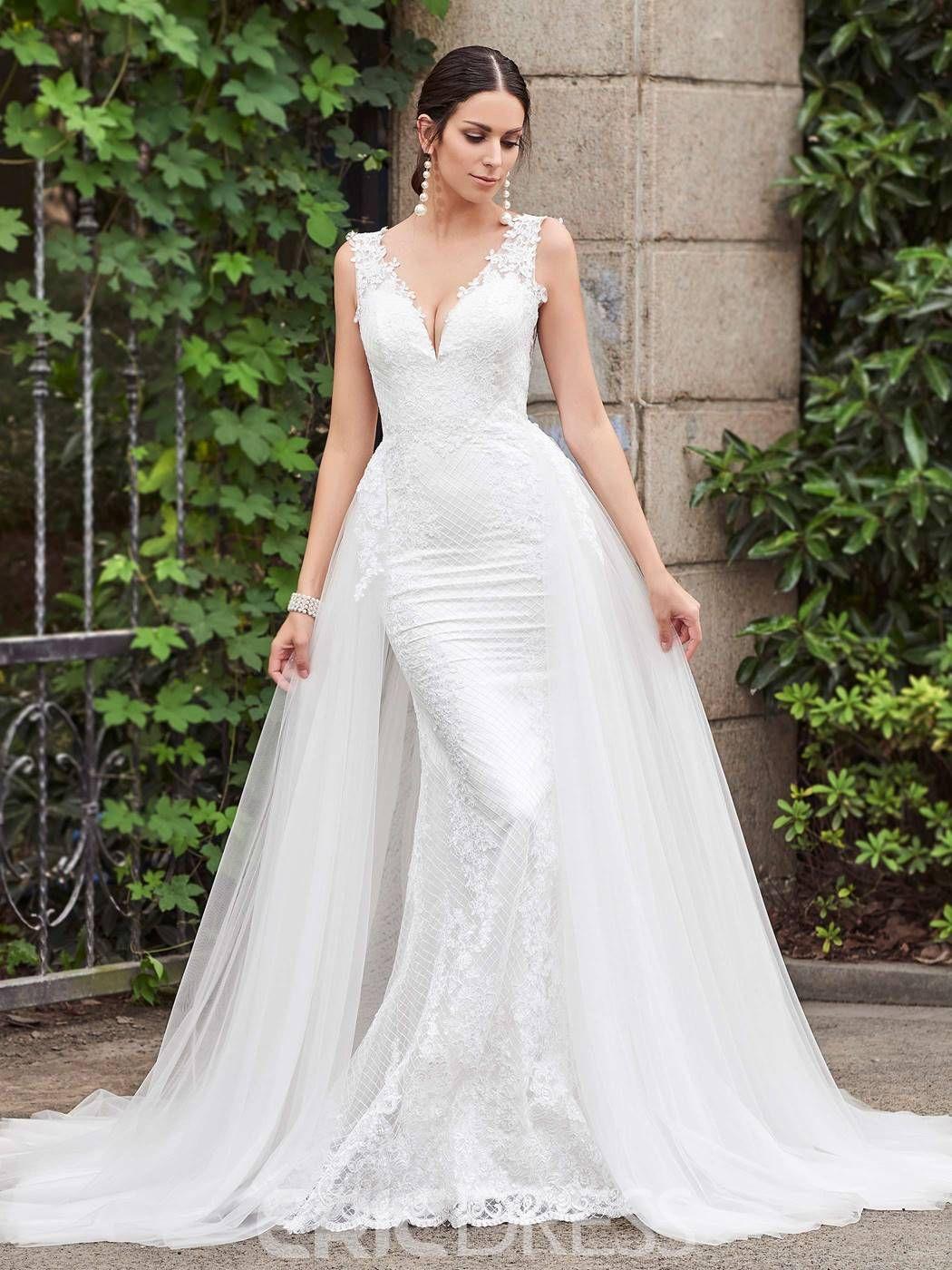 c7217b26813 Ericdress Charming V Neck Backless Mermaid Lace Wedding Dress ...