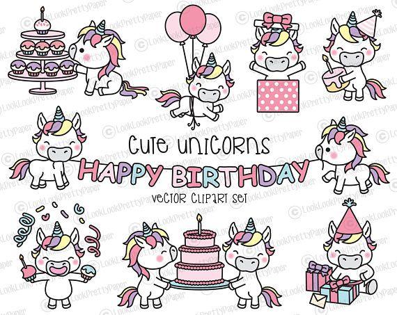 Premium Vector Clipart - Kawaii Birthday Unicorns - Cute Birthday Unicorns Clipart Set - High Quality Vectors - Kawaii Birthday Clipart