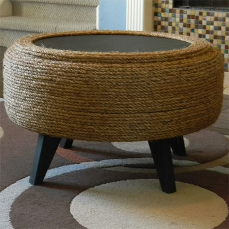 Rope string tyre ottoman diy decor pinterest tire for Diy tire chair