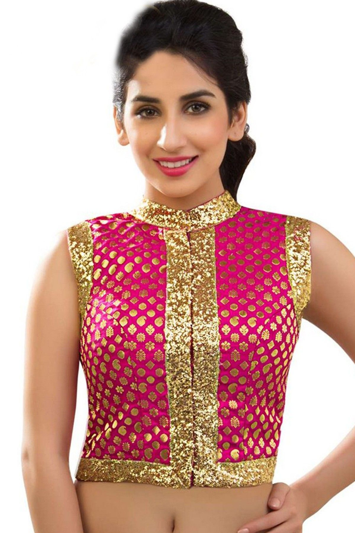 eb99177c40ae9b Rani pink & gold zari embroidered banarasi semi brocade blouse -BL526 |  indian blouse embroidery designs | #pink #gold #fancy #trendy #attractive  #pretty