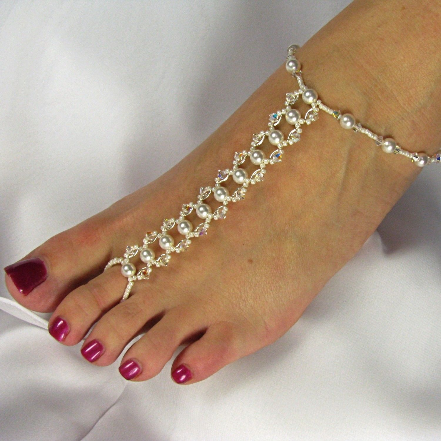 Barefoot Sandals Bridal Foot Jewelry Beach Wedding Swarovski Crystal